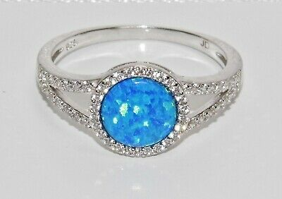 STERLING SILVER (925) BLUE OPAL & WHITE ZIRCON LADIES HALO CLUSTER RING - Size U • 12.95£