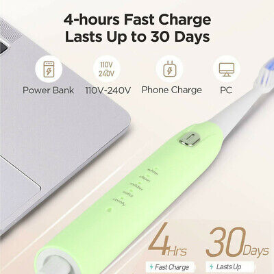 AU17.22 • Buy Electric Toothbrush Sonic Vibration Clean Massage Soft Heads+5-Mode Rechargeable