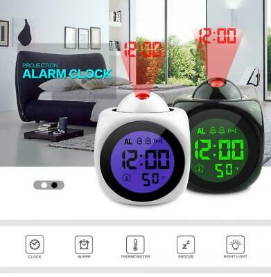 LED Digital Projection Alarm Clock Voice Talking Temperature Wall/Ceiling LCD UK • 8.29£