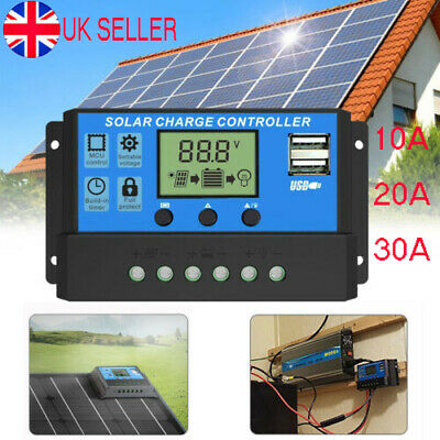 Solar Panel Battery Charge 30A 20A 10A Controller 12V/24V LCD Regulator Dual USB • 9.35£