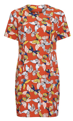 YUMI Butterfly Tunic Dress With Pocket Ladies Rust Size UK 14 (L) *REF109 • 19.99£