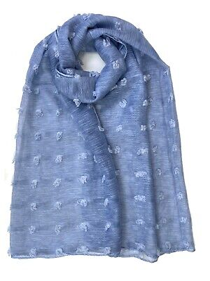 Organza Silky Meshes Scarf With Pompom Soft Hijab Shawl Wrap Cover UP Pashmina • 5.99£