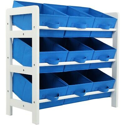 3 Tier Toy Storage Unit 9 Boxes Drawers Childrens Shelf Kids Bedroom Play Blue • 29.99£