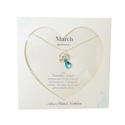 £8.29 • Buy Guardian Angel March Birthstone Necklace With Gem Stone Sentimental Gift Idea