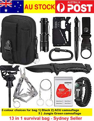 AU39.99 • Buy 13 Emergency Survival Kit Equipment Outdoor Tactical Hiking Camping Sports Tool