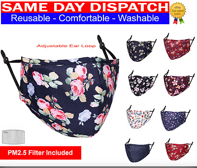 £3.99 • Buy Adult Cotton Face Mask Washable Reusable Floral Designs With PM2.5 Filter Pocket