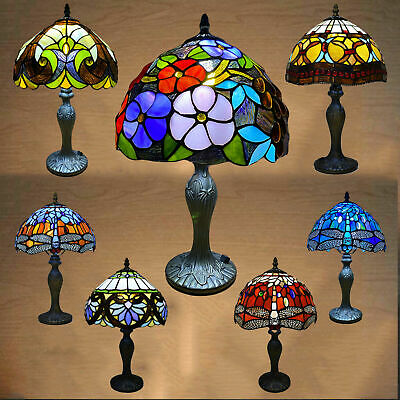 £64.12 • Buy Tiffany Style Table Lamp Handcrafted Art Bedside Light Desk Lamps Stained Glass
