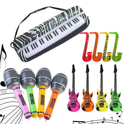 Inflatable Music Instruments Guitar/microphone/saxophone Colorful Blow Up 16Pack • 8.89£