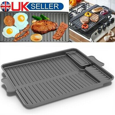 Large Non-Stick Cast Iron Reversible Griddle Pan BBQ Baking Tray Steak Cooking • 17.49£