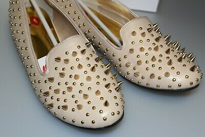 £9.99 • Buy Punk Goth Funky Studded Spiked Dolly Loafers Flats Ladies Shoes Nude/Beige 3 - 8