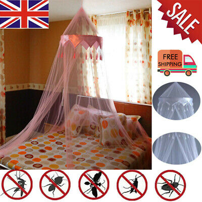 White Satin Crown Mosquito Net Bed Single Double King Midge Insect Fly Canopy UK • 10.19£