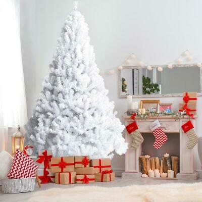 5/6/7ft White Artificial Christmas Tree Traditional Bushy With Stand Xmas Decor • 12.99£