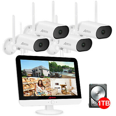 ANRAN 1080P Wireless CCTV Security Camera System With 12  Monitor 1TB Hard Drive • 279.99£