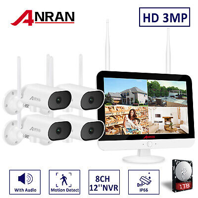 ANRAN Outdoor Wireless Home CCTV System 3MP With 1TB Hard Drive 12''Monitor NVR • 209.99£