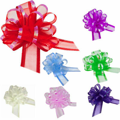 10 Organza Pull Bows , Fancy Gift Wrapping , For Gifts And Hampers 50mm Width • 6.25£