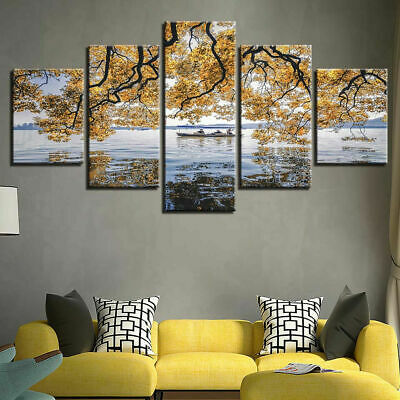 Yellow Tree Flowers Mimosa Boat 5 Piece Canvas Wall Art Poster Print Home Decor • 13.20£