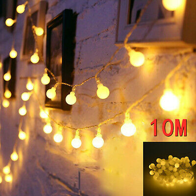 100LED 10M Globe Bulb Ball Fairy String Lights Mains Garden Outdoor Christmas UK • 7.99£