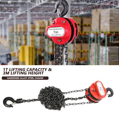 £29.99 • Buy Chain Hoist Block And Tackle 1ton Winch Capacity Engine Lift Puller Fall 3 Meter