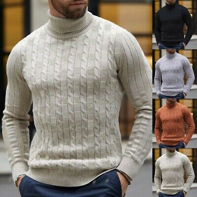 Mens Winter Warm Knitted Polo Roll Turtle Neck Pullover Sweater Jumper Casual • 9.99£