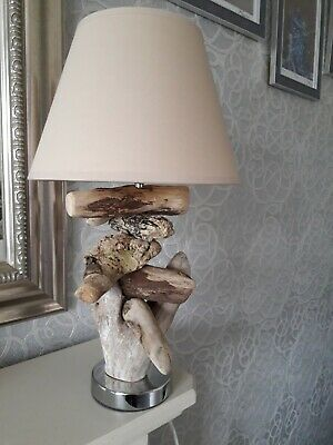 Driftwood Table Lamp Handcrafted With Cream Shade • 29£