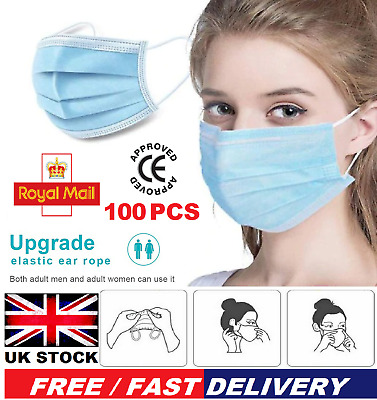 100 X 3PLY Surgical Disposable Face Mask Mouth Nose Protection Cover Masks  • 6.29£