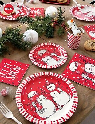 £2.99 • Buy Red Candy Cane Stripe Snowman Christmas Napkins Tablecover Plates Cups Cello Bag