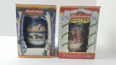 $ CDN44.45 • Buy Budweiser Holiday Stein Lot Of 2 - 2000 & 2001 Brand New With COA Free Shipping