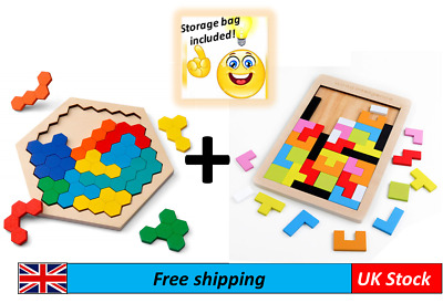 £9.99 • Buy Wooden Puzzle Bundle Tetris And Honeycomb Montessori Educational Learning Toy
