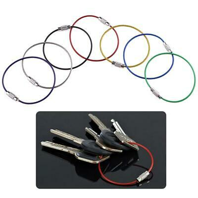 20pcs Stainless Steel Wire Keychain Screw Locking Gadget Cable Rope Keyring UK • 5.39£