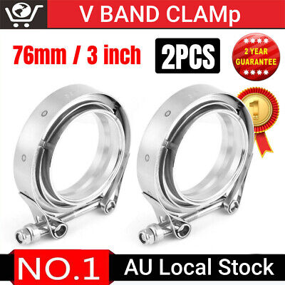 AU30.43 • Buy 2X 3.5  Inch V-Band Vband Clamp Stainless Steel Flange Kit For Exhaust Downpipe