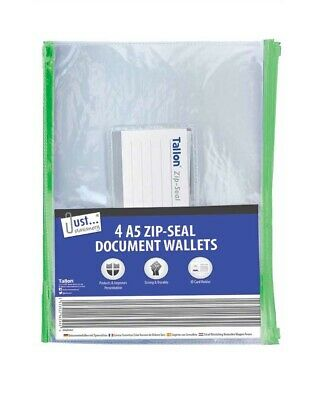 £2.29 • Buy Pack Of 4 A5 Zip Top Document Wallets With ID Photo Card Holder Clear Folder