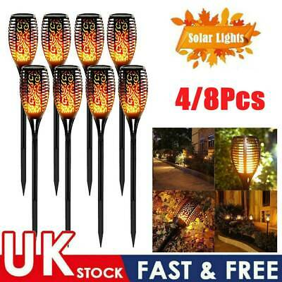 8X 4X Solar Garden Flame Light Flickering LED Torch Lamp Waterproof Landscape UK • 20.88£