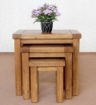 100% Solid Oak Without Veneer Nest Of 3 Tables Rustic Solid Oak Nest Of Tables • 129£