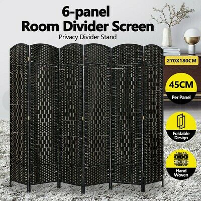 AU109.95 • Buy 6 Panel Room Divider Folding Woven Rattan Screen Privacy Stand Separator Black