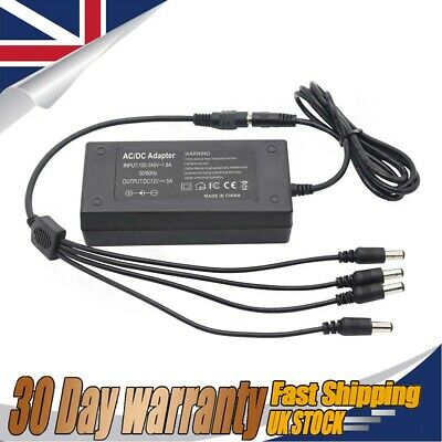 CCTV Power Supply Adapter 12V 5A For DVR & Camera + 4Way Power Splitter Cable • 9.39£