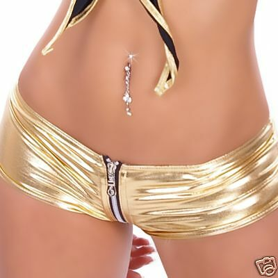 Womens SEXY GOLD HOTPANTS With ZIP Clubbing Hot Pants 6 8 10  • 8.99£