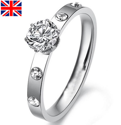 Womens Ladies Silver CZ Cubic Zirconia Engagement Fashion Ring Sizes L-S NEW • 4.99£