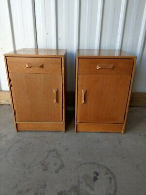 Stag Vintage Rare Mid Century Utility Pair Of Bedside Tables Cabinets Drawers  • 300£