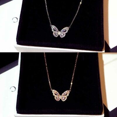 Cubic Zirconia Crystal Butterfly Pendant Necklace Women Gift Calvicle Necklace  • 4.69£