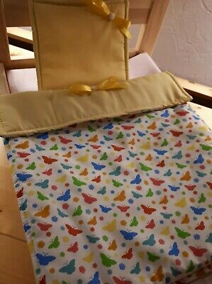 £4.25 • Buy Dolls Pram Cot Bedding Pretty Multicolored Butterfly's Yellow Fabric12x17inc