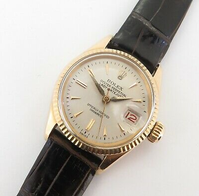 $ CDN5895.22 • Buy .Vintage 1960 Rolex Oyster Datejust Ladies Automatic 18K Watch 6517 + Papers