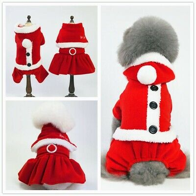 Pet Dog Puppy Cat Santa Claus Costume Warm Coats Outfits Fun Christmas Cosplay • 7.35£