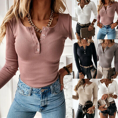 Womens V Neck Button T Shirt Tee Ladies Long Sleeve Plain Pullover Tops Blouse • 11.87£
