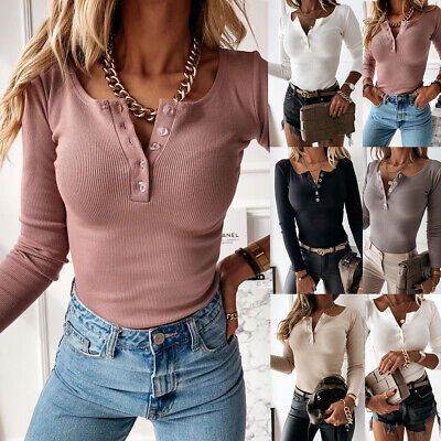Womens V Neck Button T Shirt Tee Ladies Long Sleeve Plain Pullover Tops Blouse • 9.99£