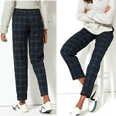 £17.99 • Buy M&S Relaxed STRAIGHT Leg TROUSERS ~ Size 18 Short ~ NAVY Mix TARTAN CHECK