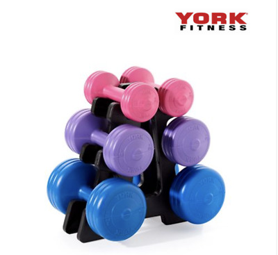 York 19kg Vinyl Dumbbell Weight Set With Stand (free Shipping) • 69.99£