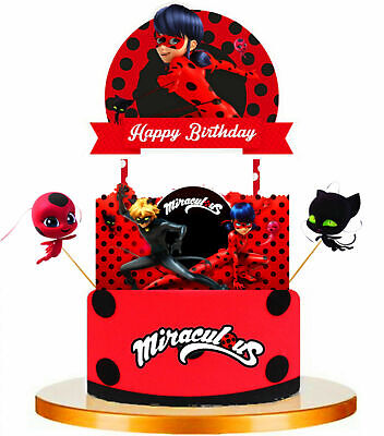 MIRACULOUS LADYBUG Cupcake Birthday Cake Topper Party Supplies Decoration UK • 4.99£