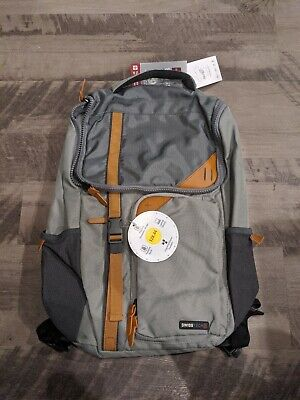SWISS TECH APPENZELL BACKPACK 18.7x11.9x5.2- Gray With Saddle Brown Accents • 16.56£