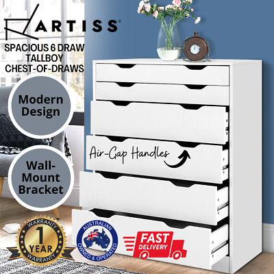 AU147.87 • Buy Artiss 6 Chest Of Drawers Tallboy Cabinet Storage Dresser Table Bedroom Storage