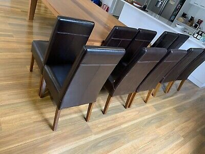 AU400 • Buy Soft Leather Dining Chairs X 10. Dark Chocolate Brown. High Back.
